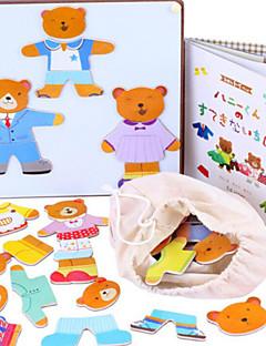 bois ours magnétique changement des vêtements jeu, bébé éducatif / casse-tête