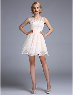 Cocktail Party Dress A-line Scoop Short / Mini Satin / Tulle with Appliques / Beading / Lace