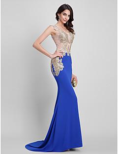 Evento Formal / Gala de Etiqueta Vestido - Sexy / Transparente / Espalda Bonita Trompeta / Sirena Cuadrado Larga Jersey conDetalles de