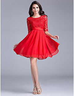 Cocktail Party Dress A-line Jewel Short / Mini Lace with Lace
