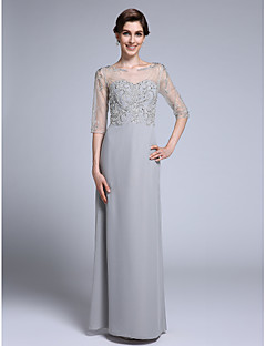 2017 Lanting Bride® Sheath / Column Mother of the Bride Dress Floor-length Half Sleeve Chiffon with Beading
