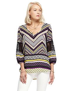 heartsoul naisten menossa yksinkertainen summergeometric pyöreä kaula pitkähihainen violetti polyesteri ohut