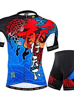 Nuckily ショーツ付きサイクリングジャージー 男性用 半袖 バイク ジャージー ショートパンツ 洋服セット 抗紫外線 高通気性 反射性ストリップ 後ポケット ポリエステル クラシック ジオメトリック パッチワーク 夏登山 レジャースポーツ サイクリング/バイク
