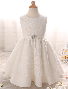 A-line Knee-length Flower Girl Dress - Lace Sleeveless Jewel with Bow(s) / Crystal Detailing