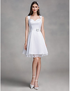 LAN TING BRIDE A-라인 웨딩 드레스 리틀 화이트 드레스 무릎 길이 스윗하트 새틴 와 레이스