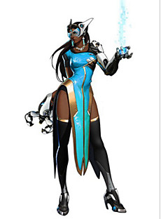 Inspired by Overwatch Symmetra Anime Cosplay Costumes Cosplay Suits Solid Blue Short Sleeve Shirt / Dress