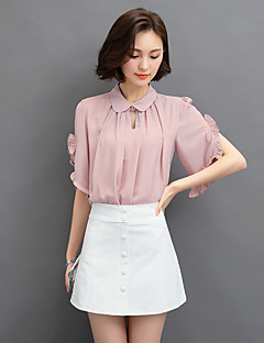 婦人向け お出かけ 夏 ブラウス,セクシー / ストリートファッション シャツカラー ソリッド ブルー / ピンク / ホワイト ポリエステル 半袖 薄手