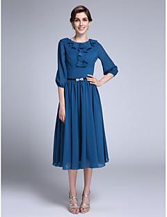 2017 Lanting Bride® Sheath / Column Mother of the Bride Dress Tea-length Half Sleeve Chiffon with Ruffles / Sash / Ribbon