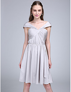 Lanting Bride® Knee-length Jersey Bridesmaid Dress A-line Off-the-shoulder with Criss Cross / Ruching