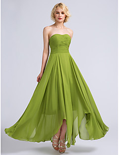 Lanting Bride® Ankle-length Chiffon Bridesmaid Dress A-line Strapless with Ruching