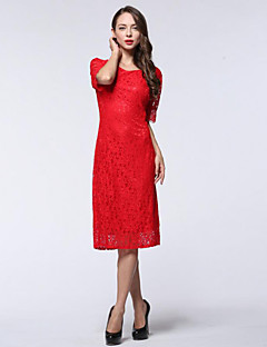 Women's Party/Cocktail / Plus Size Sexy Sheath Dress,Solid Round Neck Knee-length ½ Length Sleeve Red / Purple Polyester Summer