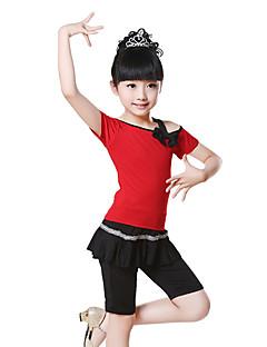 Children's Training Cotton Bow(s) 2 Pieces Ballet Short Sleeve Natural Top / Pants Children's Dance Clothes