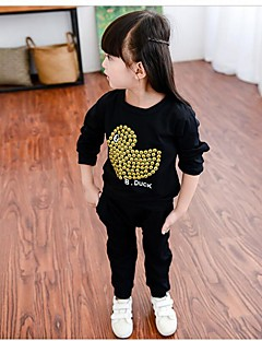 Girl's Casual/Daily Print Tee / Clothing Set,Faux Fur / Cotton Winter / Spring / Fall Black