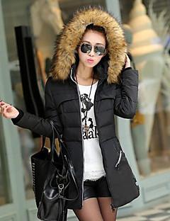 婦人向け 長袖 ダウン コート,シンプル / ストリートファッション コットン / ポリエステル