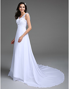 A-line Petite / Plus Sizes Wedding Dress - Chic & Modern Vintage Inspired Sweep / Brush Train V-neck Chiffon / Lace with Appliques