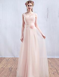 포멀 이브닝 드레스 A-라인 스트랩 바닥 길이 튤 와 플라워