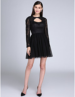 TS Couture Cocktail Party Prom Dress - Little Black Dress A-line Jewel Short / Mini Lace Satin Tulle with Lace