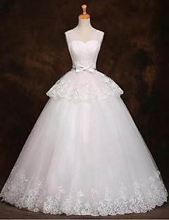 A-라인 웨딩 드레스 바닥 길이 스트랩 튤 와 리본