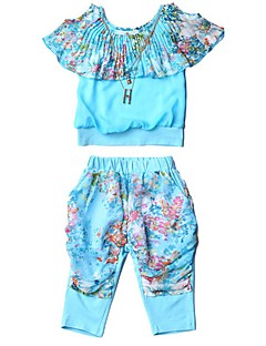 Girl's Casual/Daily Floral Clothing Set,Polyester Summer Blue / Green / Red
