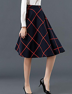 Women's Plaid Pleated All Match High Rise Fashion Skirts,Vintage Knee-length