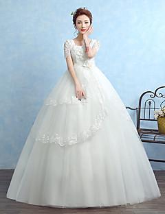 De Baile Vestido de Noiva Longo Quadrado Tule com Com Apliques