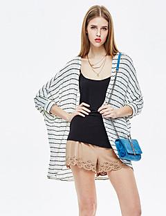 heartsoul kvinners går ut enkle sommer blazer, stripete rund hals ¾ ermet hvit rayon / polyester / spandex tynn
