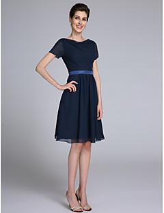 Szűk szabású Csuklya Térdig érő Sifon Örömanya ruha - Pántlika / szalag által LAN TING BRIDE®