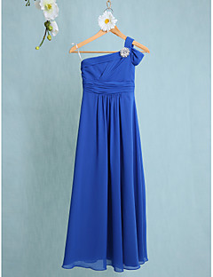 Lanting Bride® Floor-length Chiffon Junior Bridesmaid Dress Sheath / Column One Shoulder with Side Draping / Crystal Brooch