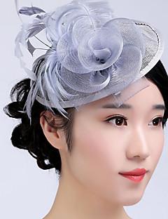 Mulheres Penas Tule Cestaria Capacete-Casamento Ocasião Especial Casual Ao ar Livre Fascinador 1 Peça