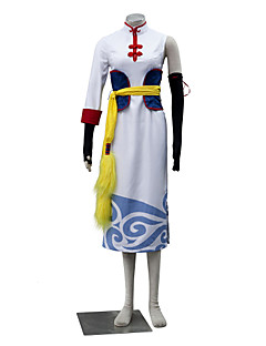 Inspired by Gintama Kagura Anime Cosplay Costumes Cosplay Suits Solid White / Yellow Sleeveless Dress / Gloves / Belt