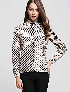 Women's Print Polka Dot Large Size All Match Fashion Vintage Street chic Shirt,Stand Long Sleeve