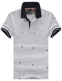 Summer Men's Casual/Work/Daily/Plus Size Lapel Short Sleeve Print T-Shirt Blouse Tops