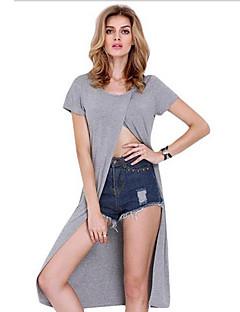 De las mujeres Chic de Calle Casual/Diario Verano Camiseta,Escote Redondo Un Color Manga Corta Algodón Gris Medio
