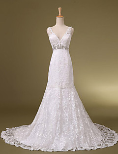 Trumpet / Mermaid Wedding Dress Chapel Train V-neck Lace with Beading / Crystal / Lace / Appliques