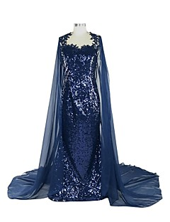 Formal Evening Dress - See Through Sheath / Column Queen Anne Chapel Train Sequined with Appliques