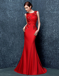 Formal Evening Dress Trumpet / Mermaid Jewel Sweep / Brush Train Stretch Satin with Sequins