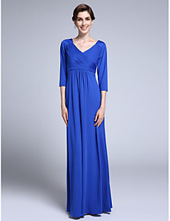 Sheath / Column V-neck Floor Length Chiffon Mother of the Bride Dress with Criss Cross by LAN TING BRIDE®