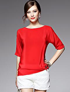 AFOLD® 여성 라운드 넥 짧은 소매 셔츠 & 블라우스 브라운 / 실버-5537
