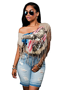 Women's Sexy Print One Shoulder Short Tassel T-shirt/Blouse