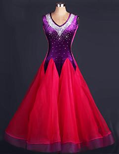 ボールルームダンス セット 女性用 演出 弾性シルク オーガンザ フリル 1個 ノースリーブ ナチュラルウエスト ドレス