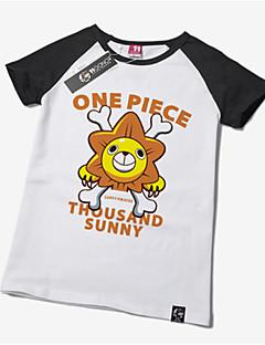 Inspirado por One Piece Monkey D. Luffy Animé Disfraces de cosplay Tops Bottoms Cosplay Estampado Blanco Manga Corta T-Shirt