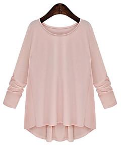 여성의 솔리드 라운드 넥 긴 소매 티셔츠,심플 캐쥬얼/데일리 핑크 / 화이트 / 블랙 폴리에스테르 여름 중간
