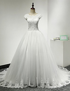 Ball Gown Wedding Dress Lacy Look Chapel Train Scoop Lace Tulle with Lace Ruffle Sash / Ribbon