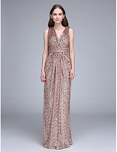 Sheath / Column V-neck Floor Length Sequined Bridesmaid Dress with Ruching Sequins by LAN TING BRIDE®