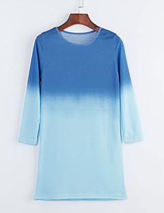 Ronde hals - Polyester - Geplooid - Boven de knie - Vrouwen - Jurk - Lange mouw