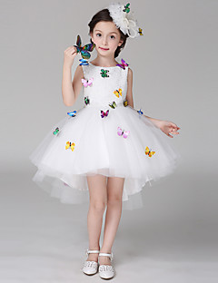 Ball Gown Asymmetrical Flower Girl Dress - Cotton / Lace / Satin Sleeveless Scoop with Bow(s) / Lace