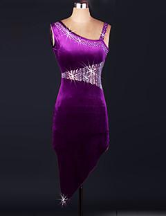 הופעות שמלות בגדי ריקוד נשים ביצועים קטיפה קריסטלים / rhinestones 3 חלקים בלי שרוולים גבוה שמלות / Tanga / סט חזייה ותחתונים