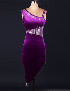 Performance Dresses Women's Performance Velvet Crystals/Rhinestones 3 Pieces Grape Latin Dance Sleeveless High Dress