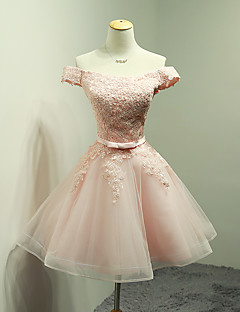 Short / Mini Organza Bridesmaid Dress - Ball Gown Off-the-shoulder with Appliques / Bow(s) / Sash / Ribbon