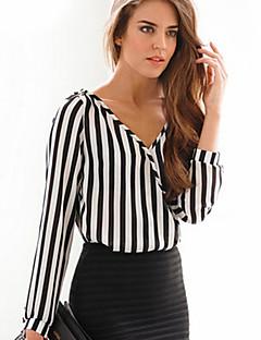 Camicia Da donna Casual Semplice Primavera,A strisce A V scollato Acrilico Bianco Manica lunga Sottile